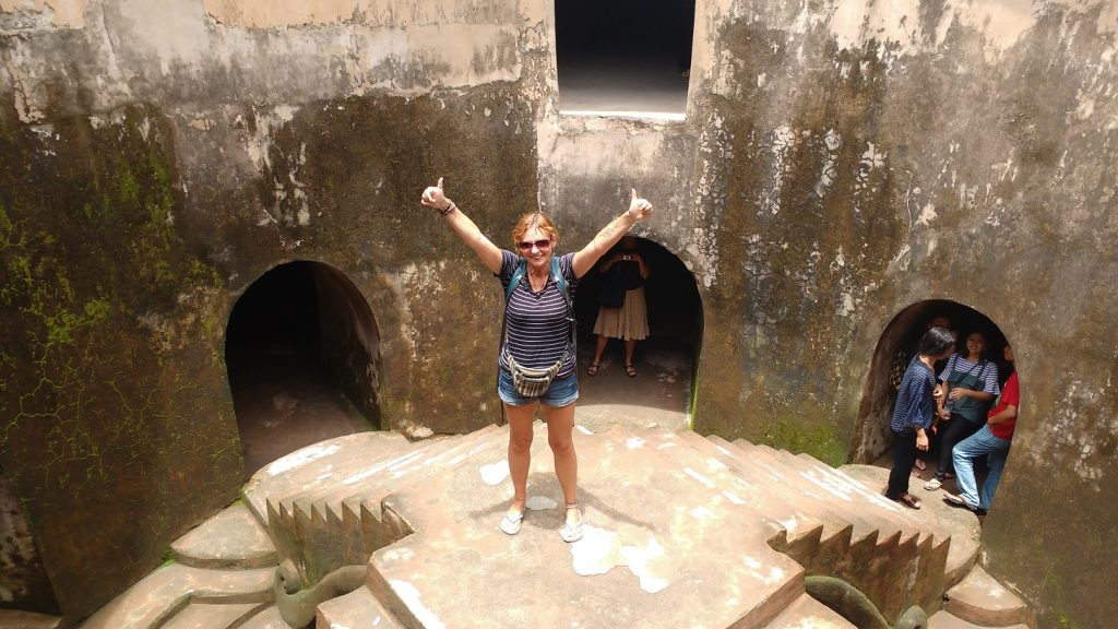 Jane Clements Life Coach standing in the underground mosque on Java