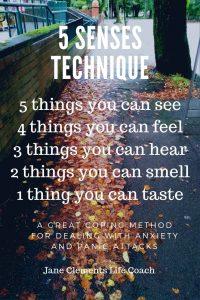 text description of the 5 senses technique for anxiety